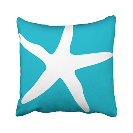 WinHome Square Throw Pillow Covers Modern Turquoise And White Starfish Simple Pattern Pillowcases Polyester 18 X 18 Inch With Hidden Zipper Home Sofa Cushion Decorative Pillowcase
