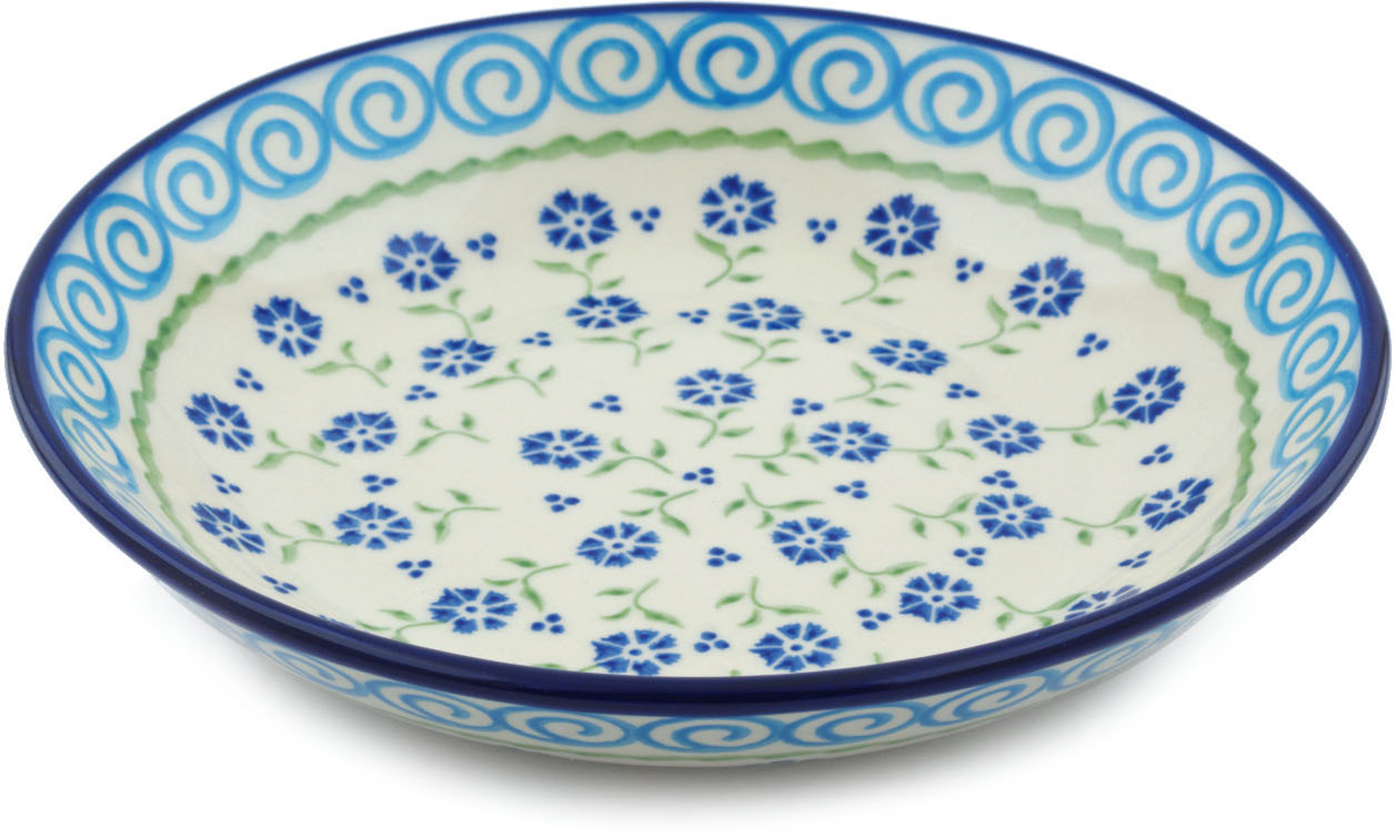 Polish Pottery 8�-inch Pasta Bowl (Blue Bursts Theme) Hand Painted in Boleslawiec, Poland + Certificate of... by Ceramika Bona