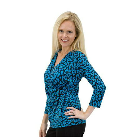 Women's Solid/Print V Neck 3/4 Sleeve Knit Front Drape Wrap Jersey Tops Side Shirring Blouse( Teal black prints)