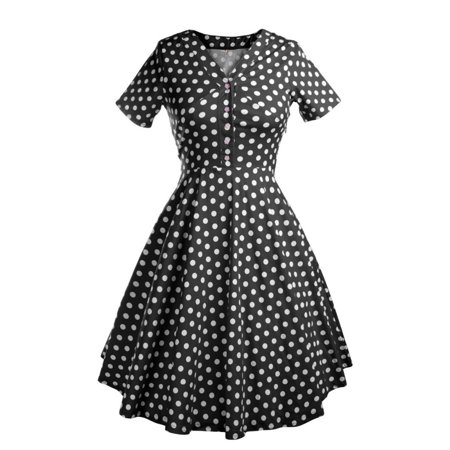 Women Vintage Style Polka Dot 50'S 60'S Swing Pinup Party Housewife Dress V-neck Short