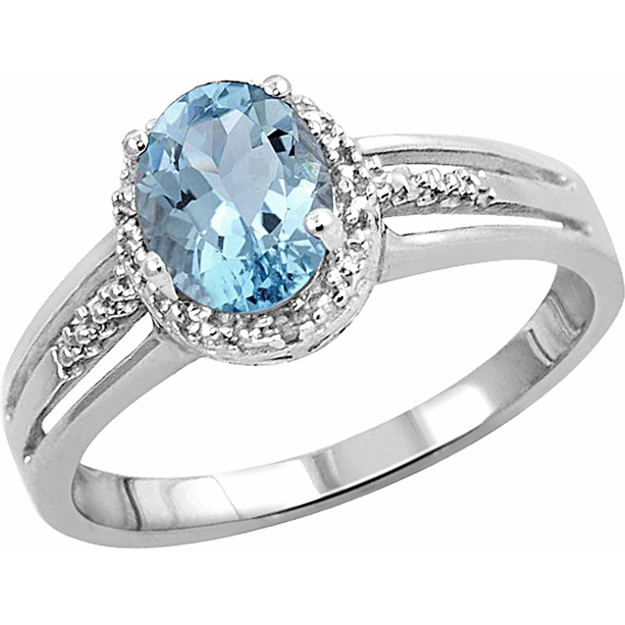 1.15 Carat T.G.W. Aquamarine Gemstone and White Diamond Accent Ring by JewelersClub
