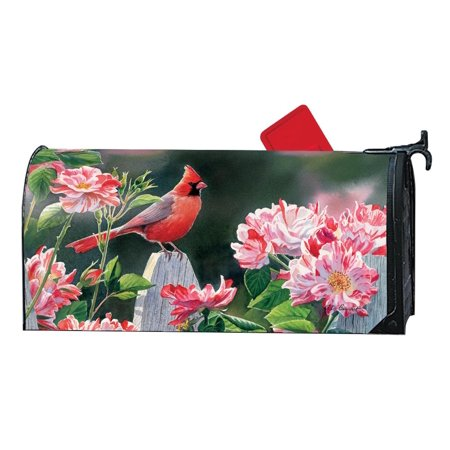 Magnet Works Cardinal with Variegated Roses Magnetic Mailbox Wrap Cover #01634