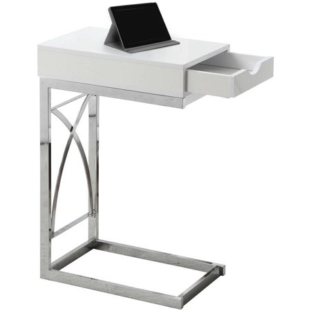 Monarch Accent Table Chrome Metal Glossy White With A