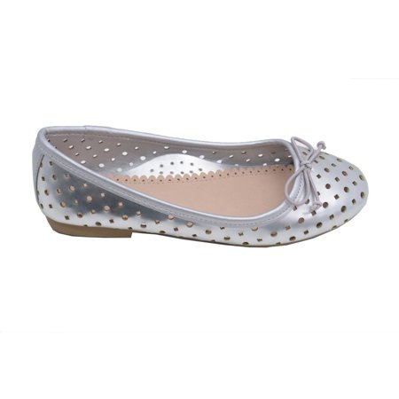 Little Big Kids Girls Silver Perforated Bow Ballet Flats 11-4 Kids](Girls Silver Flats)