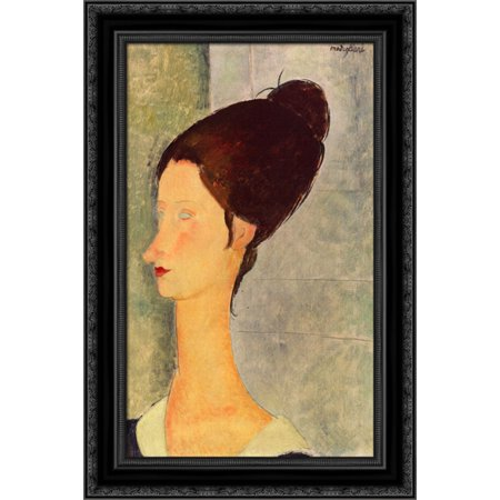 Jeanne Hebuterne 19x24 Black Ornate Wood Framed Canvas Art by Modigliani, Amedeo Amedeo Modigliani Framed Canvas