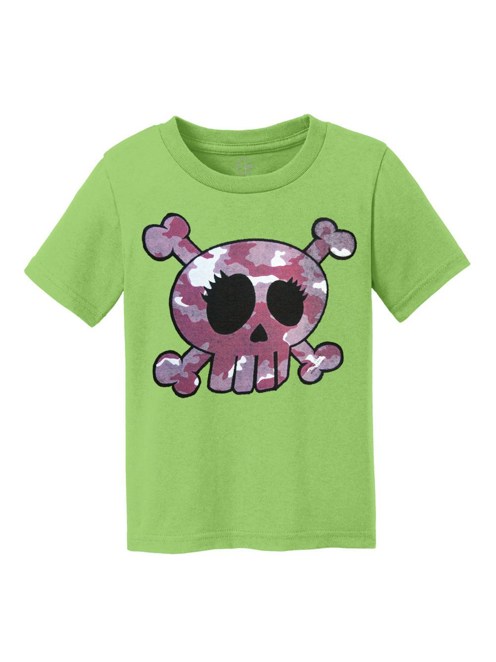 Pink Camo Skull Youth Cotton T-Shirt