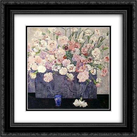 - Charles Rennie Mackintosh 2x Matted 20x20 Black Ornate Framed Art Print 'Pinks'