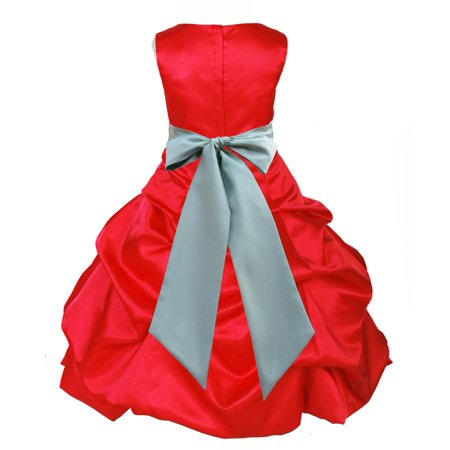 Ekidsbridal Formal Satin Pick-up Red Flower Girl Dress Christmas Bridesmaid Wedding Pageant Toddler Recital Easter Holiday Communion Birthday Baptism Occasions Size 2 4 6 8 10 12 14 16 806s (Girls Christmas Dress Size 8)