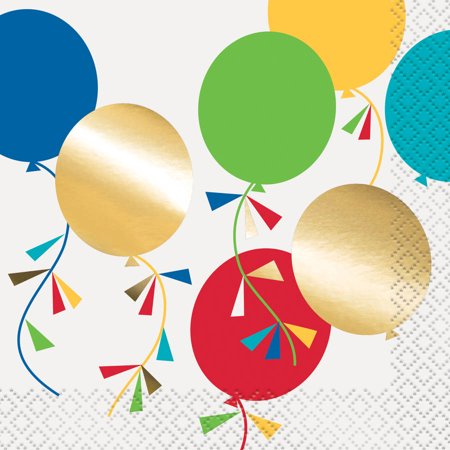 - Foil Party Diamond Balloons Beverage Napkins, 16ct