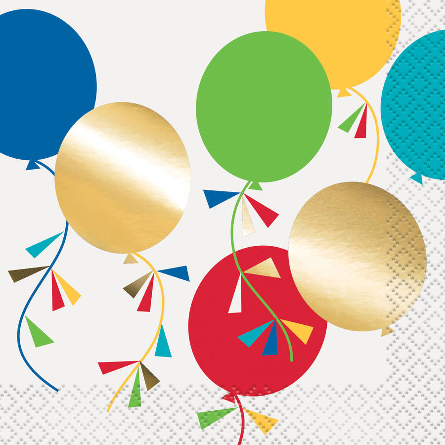 Foil Party Diamond Balloons Beverage Napkins, 16ct