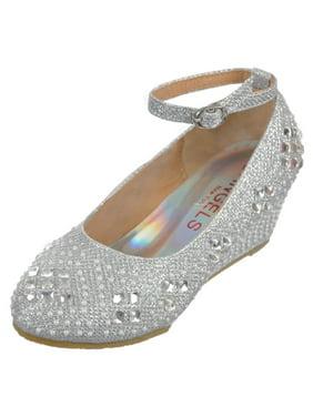 "Angels Girls' ""Gems & Pearls"" Wedge Heels (Toddler Sizes 10 - 12)"