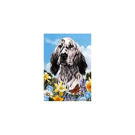 English Setter Black and White - Best of Breed Summer Flowers Garden Flags