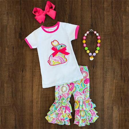 2PCS Toddler Kids Baby Girls Easter Rabbit Floral Tops T-shirt + Long Ruffles Pants Outfits Set - Rabbit Outfit