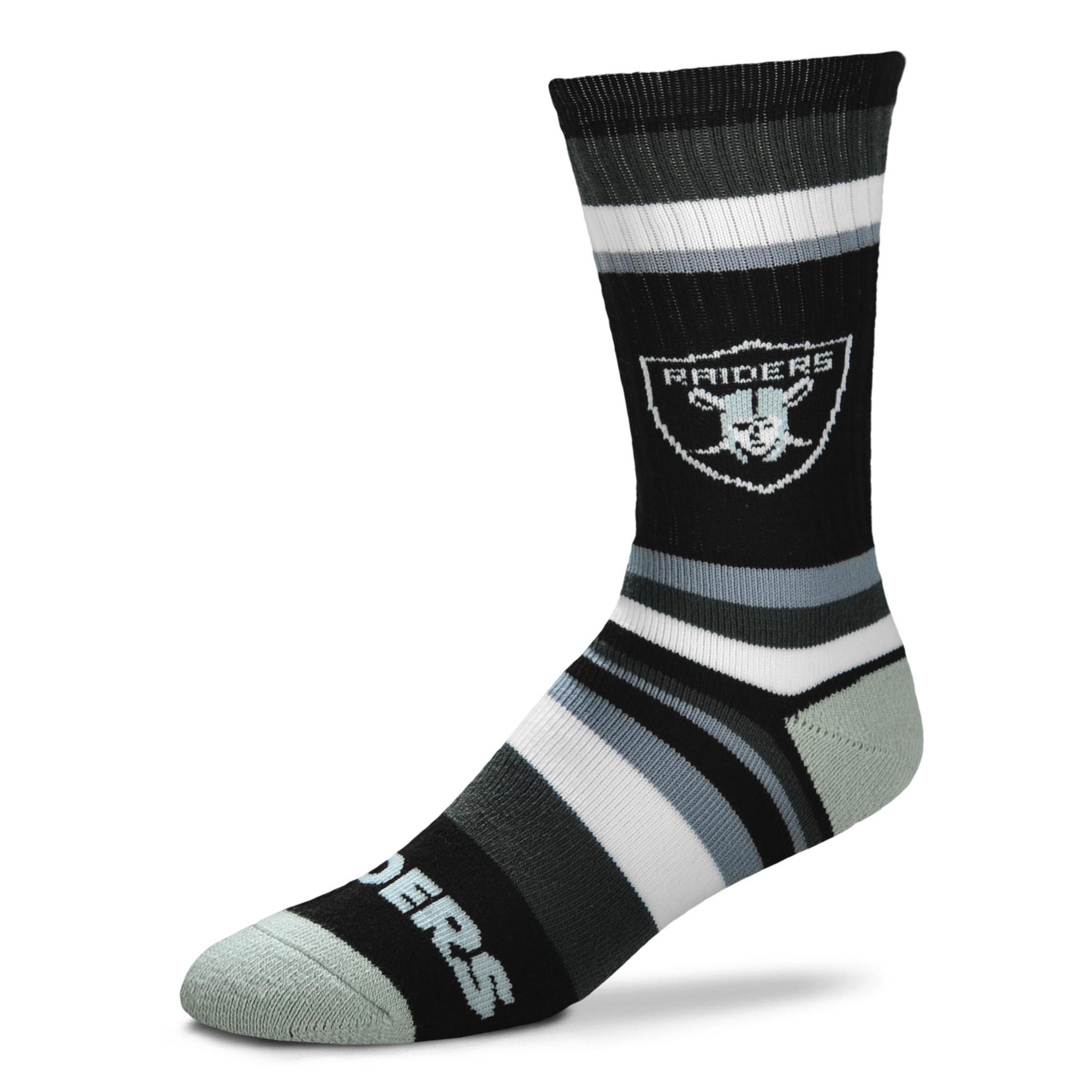 Oakland Raiders For Bare Feet Youth Rainbow Stripe Tri-Blend Crew Socks - No Size