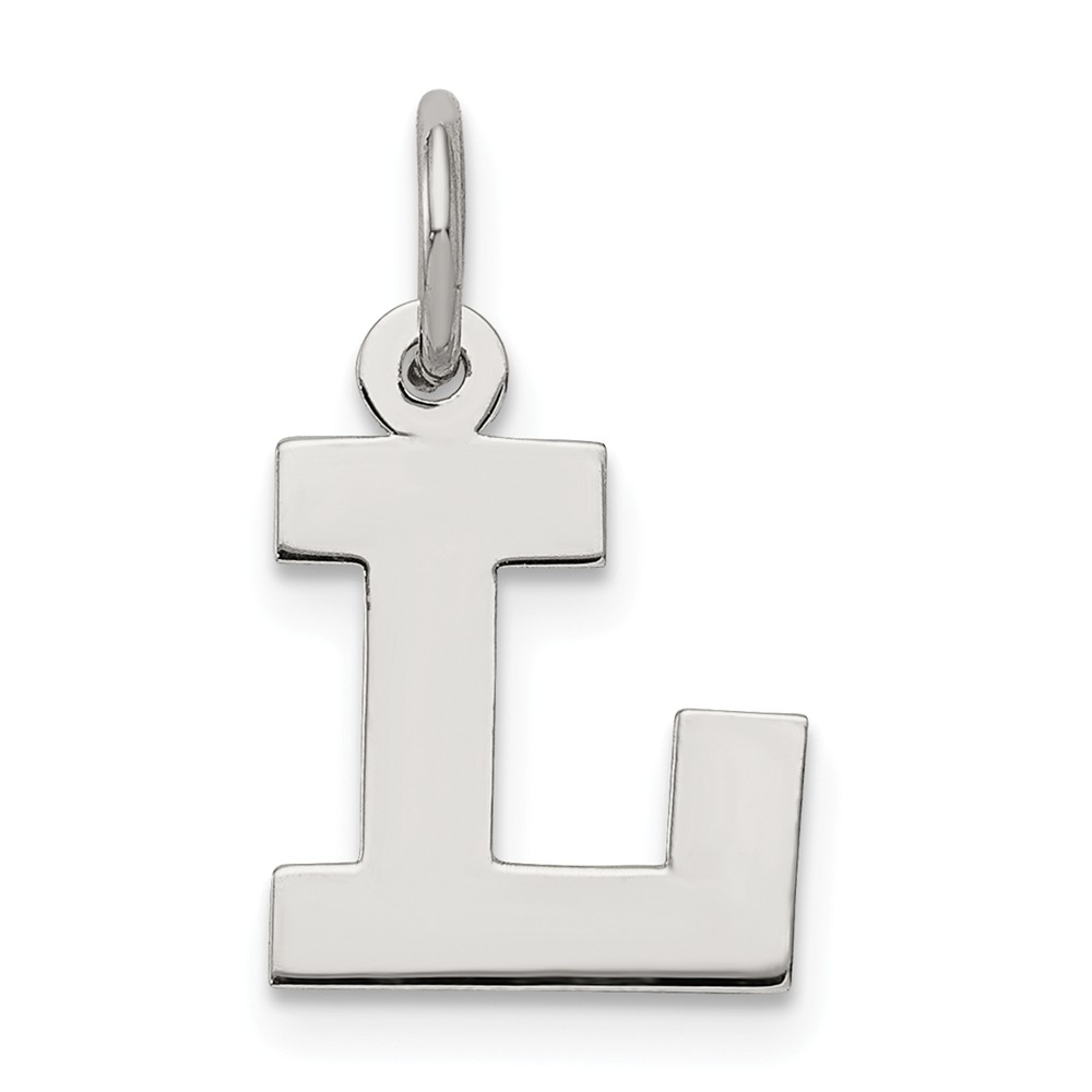 Sterling Silver Small Block Initial L Charm (0.6in long x 0.4in wide)