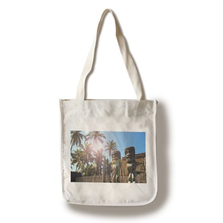 Tiki Statues & Palms - Lantern Press Photography (100% Cotton Tote Bag - Reusable)](Tiki Lanterns)