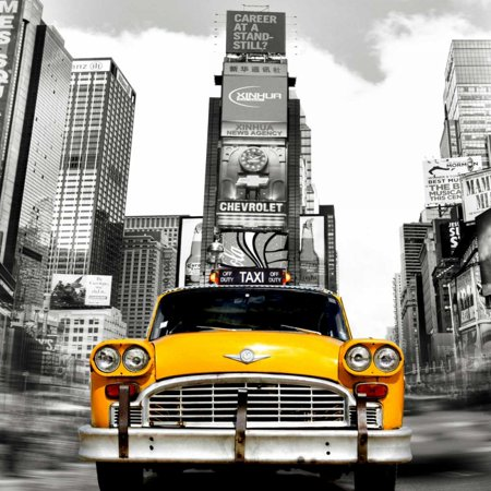 Vintage Taxi in Times Square NYC Poster Print by Lauren