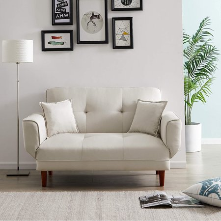 """Convertible Twin Size Futon Sofa Bed with 2 Pillows Modern Fabric Sleeper Sofa Mini Sofa Couch, 56.5"""" - Beige"""
