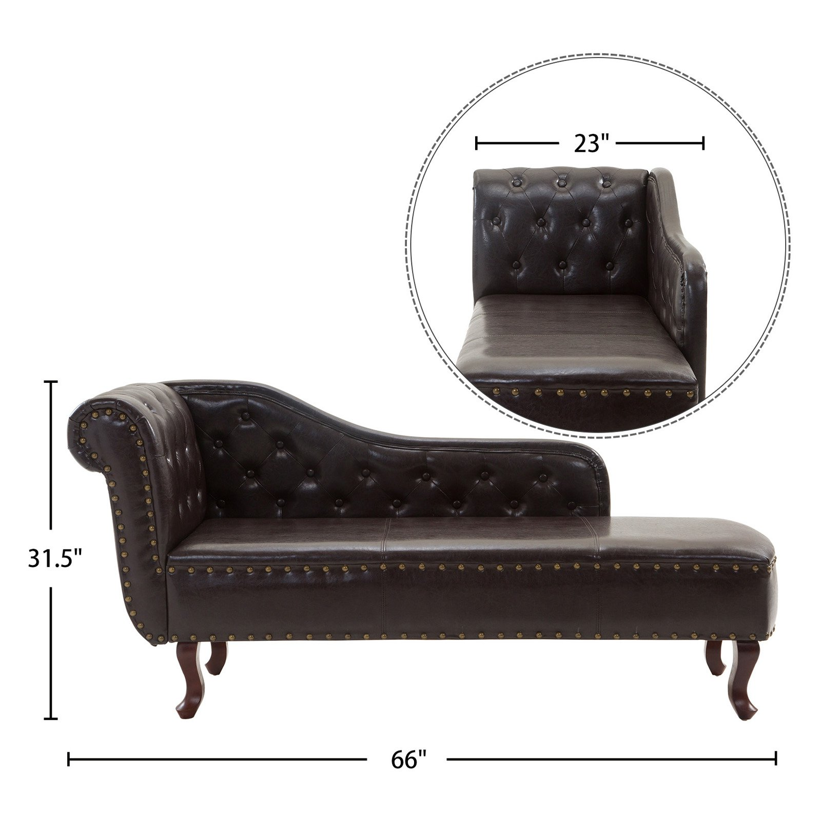 Cloud Mountain Tufted Faux Leather Chaise Lounge Walmart