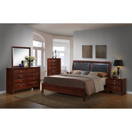 Roundhill Furniture Emily Contemporary Wood Bedroom Set with Bed, Dresser,  Mirror, 2 Night Stands, Chest, Queen, Merlot
