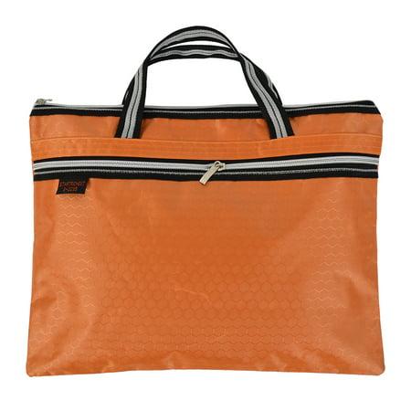 Nylon Womens Briefcase (Document File Nylon Hexagon Pattern A4 Zipper Closure Bag Tote Briefcase Orange )