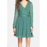 Diane von Furstenberg NEW Green Women's Size 8 Flare Sheath Silk Dress