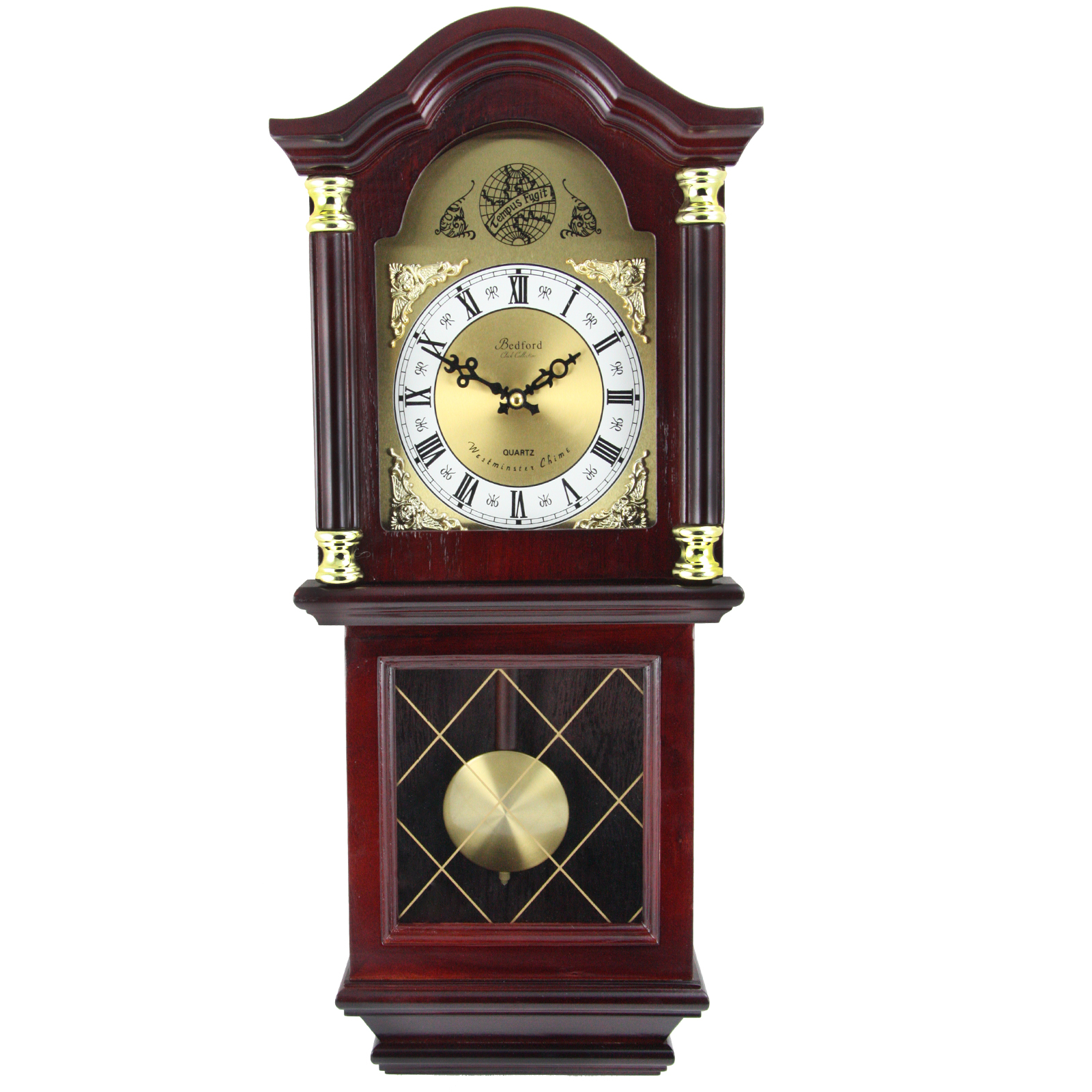 """Click here to buy Bedford Clock Collection 26"""" Antique Mahogany Cherry Oak Chiming Wall Clock with... by Supplier Generic."""