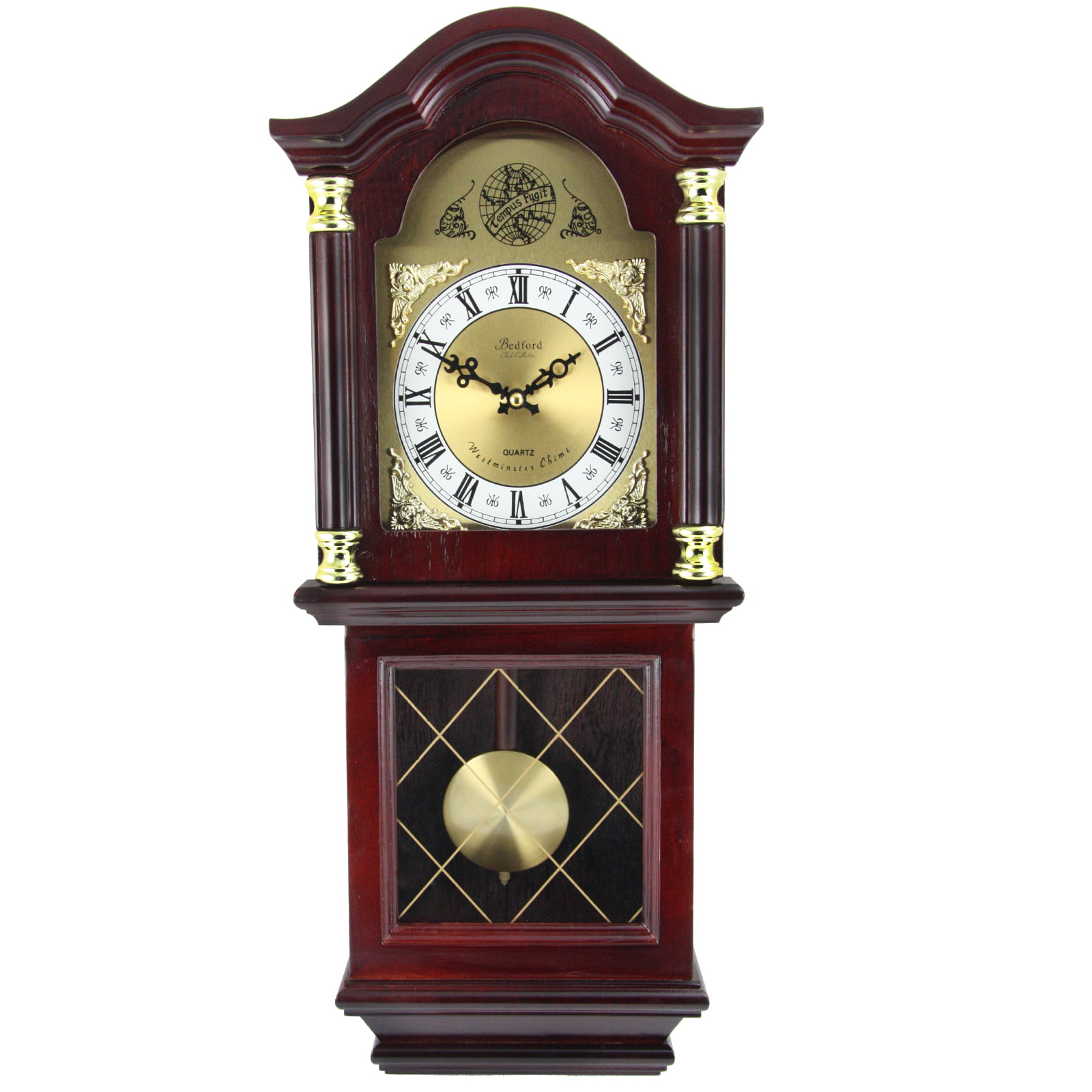 "Bedford Clock Collection 26"" Antique Mahogany Cherry Oak Chiming Wall Clock with... by Supplier Generic"