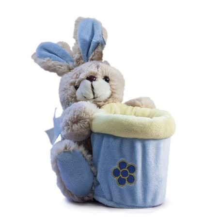 Company Springtime Bunny Basket in Blue, Soft, plush bunny fur By Beverly Hills Teddy Bear Ship from US
