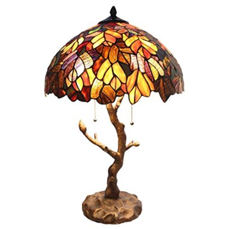 Tiffany Style Stained Glass Tile Lamp: 24.5 Inch Victorian Style Colorful Maple Leaf Accent Lamp with Vintage Bronze Tree Trunk Base - High-End, Decorative Tile Lamps for Small Elegant Home Decor (Small Lamp Decorative)