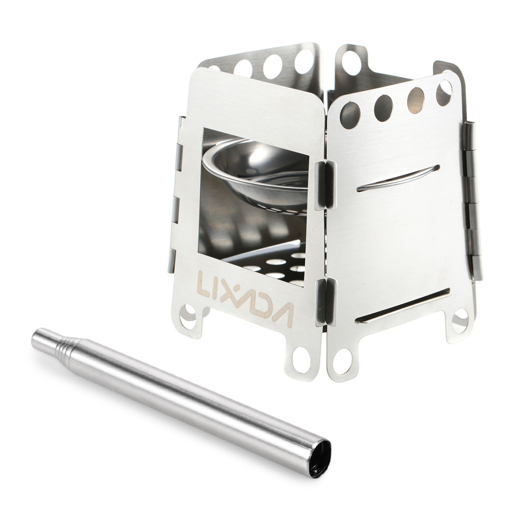 Lixada Camping Stove Stainless Steel Lightweight Wood Stove Solidified Alcohol S
