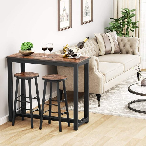Tribesigns 3 Pieces Bar Table Set, Modern Pub Table Set and Stools Dining Set, Kitchen Counter Height Dining Table Set with 2 Bar Chairs for Breakfast Nook, Dining Room, Living Room, Small Space