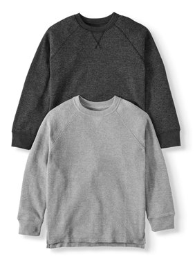 Wonder Nation Long Sleeve Thermal Sweatshirt, 2 Pack (Little Boys, Big Boys, and Husky)