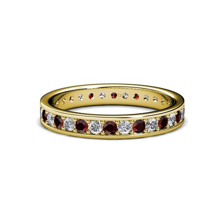 Red Garnet and Diamond Channel Prong Eternity Band 0.83ct tw to 0.96ct tw 14K Yellow Gold.size 8.5