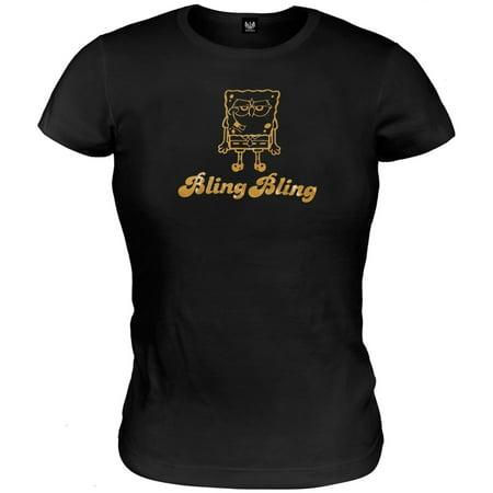 Spongebob - Bling Bling Juniors Babydoll T-Shirt - Spongebob Chocolate Lady