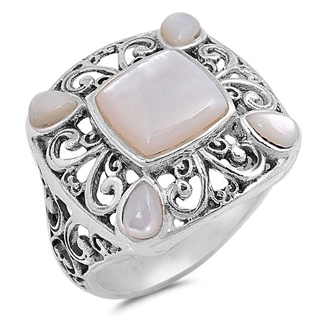 Sterling Silver Stunning Women's Simulated Mother of Pearl Filigree Ring (Sizes 6-10) (Ring Size 7)