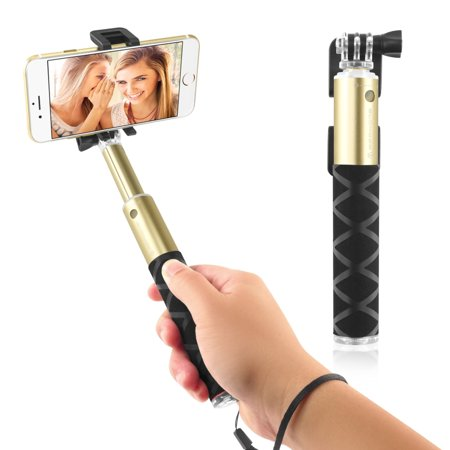 Insten 2016 EDITION Selfie Stick Portable Pocket-Size Extendable Handheld Monopod Holder Self-Portrait Universal for iPhone 7 6 6s Plus SE 5s Android Phone Samsung LG Gold Golden lightweight Aluminum