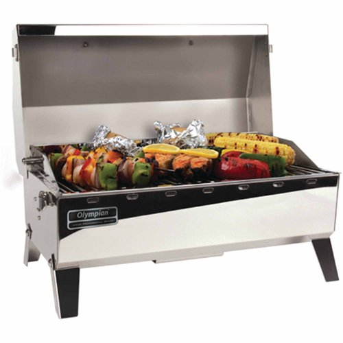 "Camco Olympian 4500 Stainless Steel Portable Gas Grill Connects To Low Pressure Supply On RV, Includes RV Mounting Bracket And Folding Tabletop Legs - 160"" (57251)"