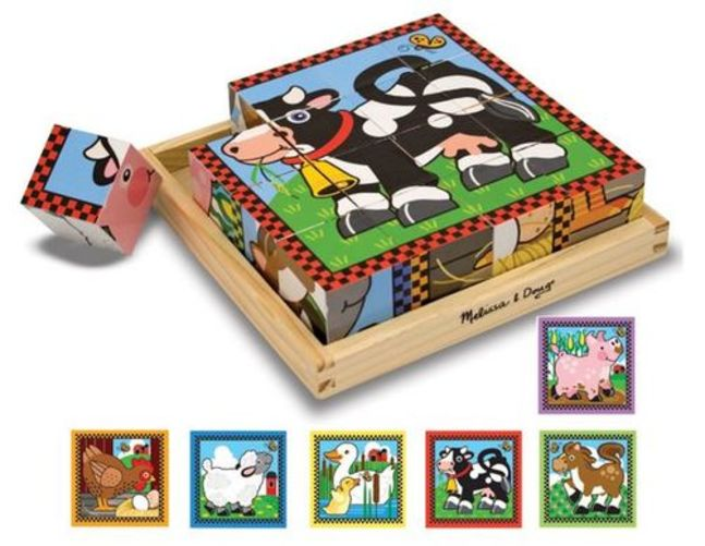Melissa & Doug Farm Wooden Cube Puzzle With Storage Tray 6 Puzzles in 1 (16 pcs) by Melissa & Doug