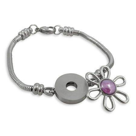 Charm Bracelet For Women, Stainless Steel Snake Chain, Fits Pandora Charms, Snap Button, 7.5 Inch (19 cm) (Steel Pandora Bracelet)