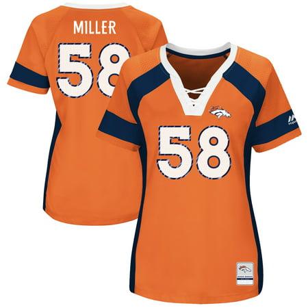 Von Miller Denver Broncos Majestic Women's Draft Him Name & Number Fashion V-Neck T-Shirt - Orange Denver Broncos Womens Short