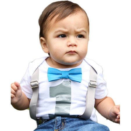 - Baby Boys 1st Birthday Shirt Outfit Bodysuit with Bow Tie Newborn Months Blue Noah's Boytique