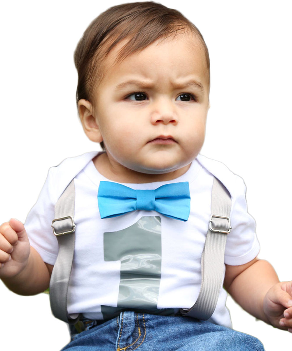Baby Boys 1st Birthday Shirt Outfit Bodysuit with Bow Tie Newborn Months Blue Noah's Boytique