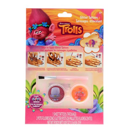 Dreamworks Trolls Girls Temporary Tattoos Sparkle Glitter Kids Make Up Accessory](Temporary Kids Tattoos)