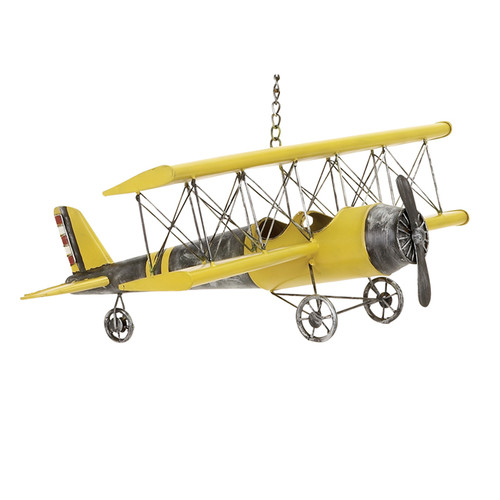 EC World Imports Handcrafted Antique Die Cast Metal Bi-Plane Airplane Toy Replica by ecWorld