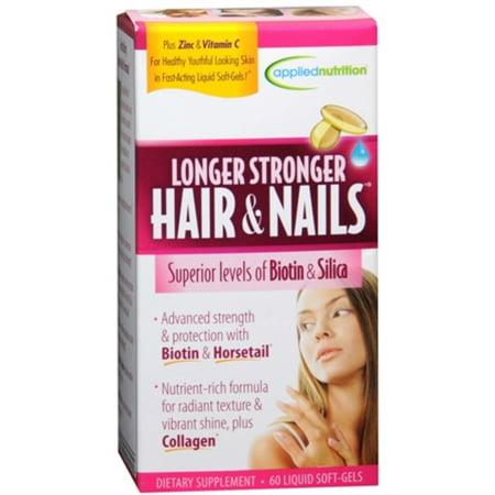 Applied Nutrition Longer Stronger Hair & Nails Liquid Soft-Gels 60 60 Soft Gels (Pack of (Stronger Hair Nails)