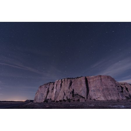 The Big Dipper rises over the large mesa in El Malpais National Monument New Mexico Poster Print