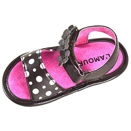 Angel Baby Girl Polka Dot & Flower Velcro Strap Leather Sandals (3, Brown) Velcro Strap Sandals