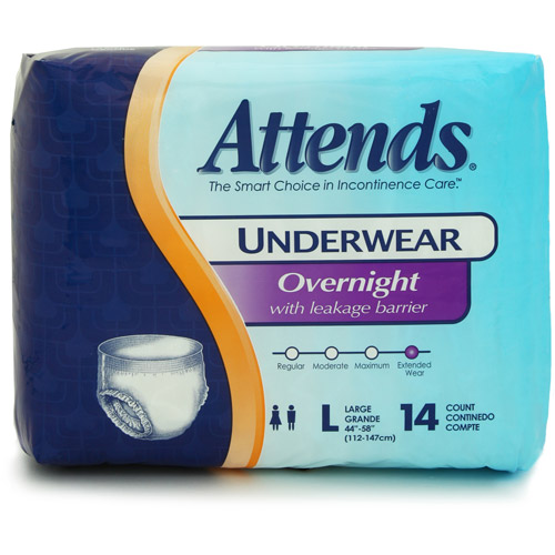 Attends Overnight Protective Underwear with Leakage Barriers, Large, 14 count
