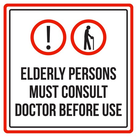 Elderly Persons Must Consult Doctor Before Use Pool Spa Warning Square Sign - Inch,